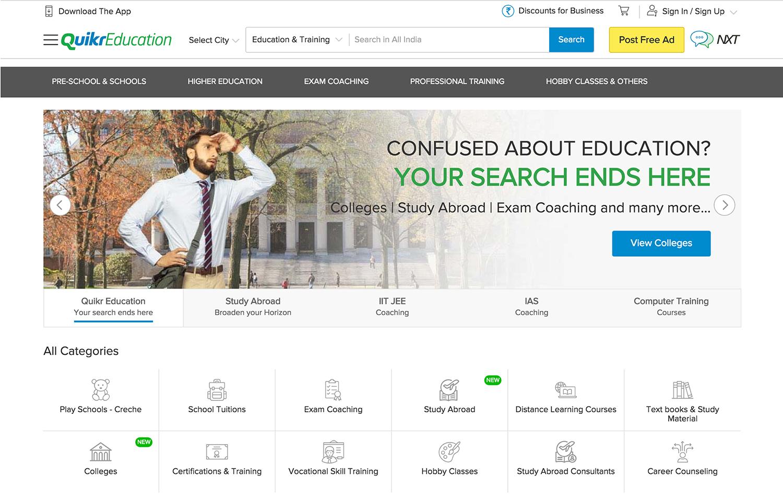 QuikrEducation Home Page Ranveer Singh Banner